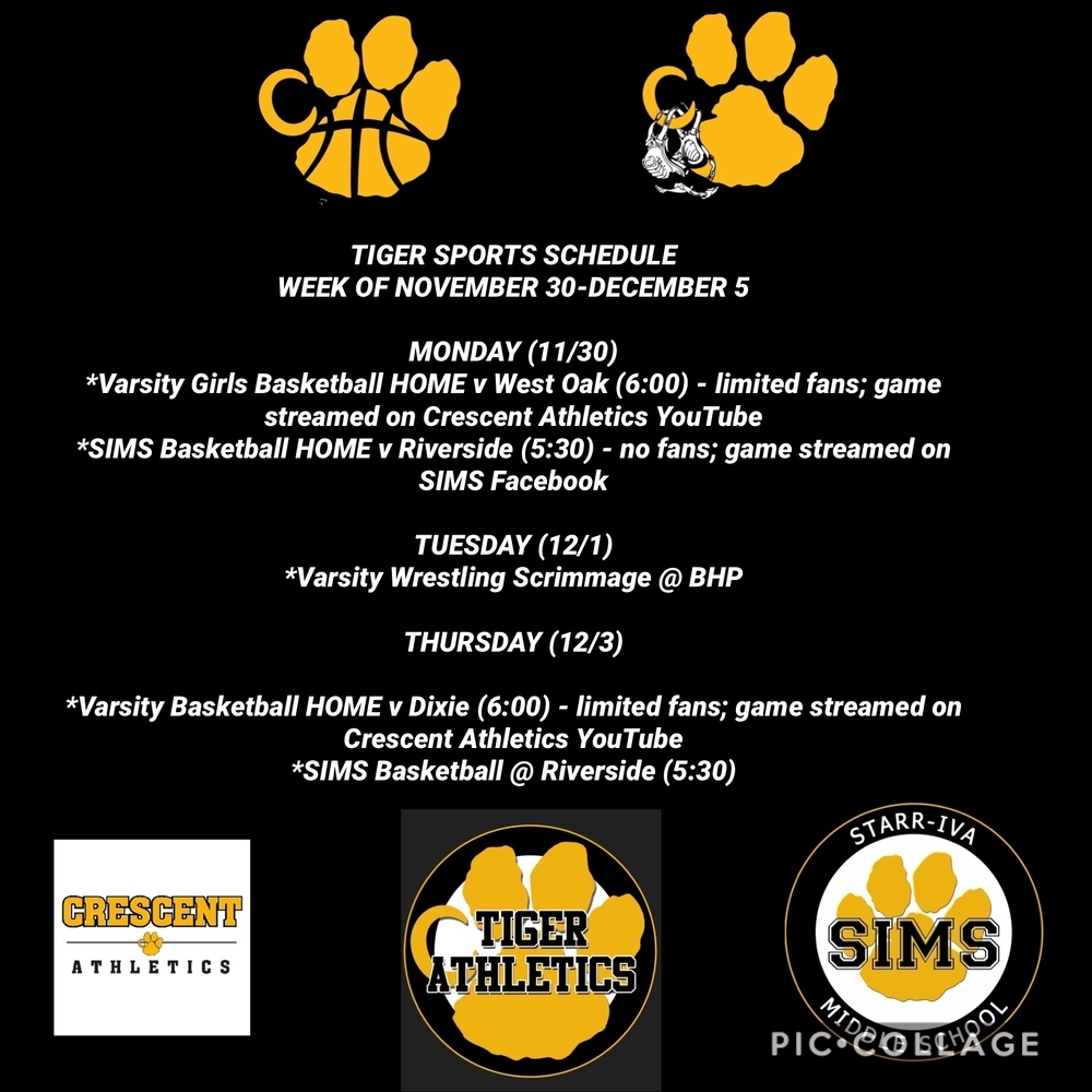 Tiger Sports Week of 11/30 to 12/5