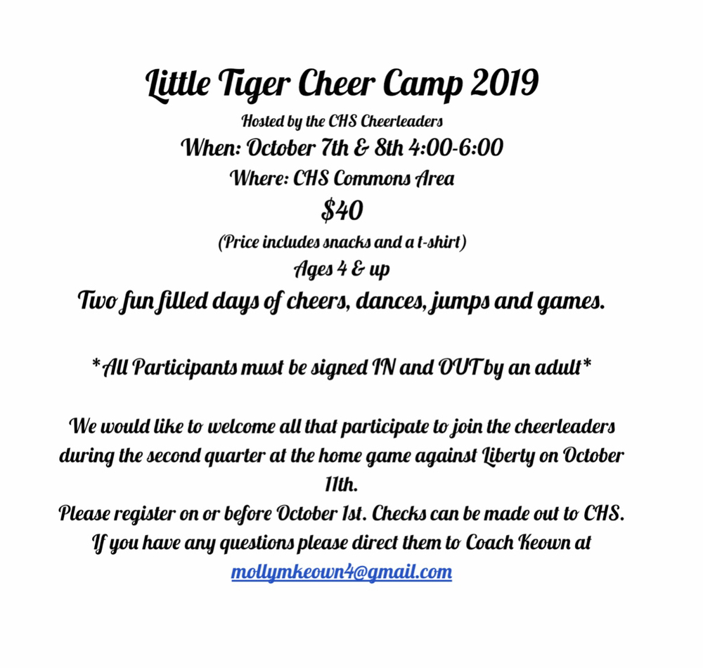 Register today for the Little Tiger Cheer Camp! Link to the registration form here: