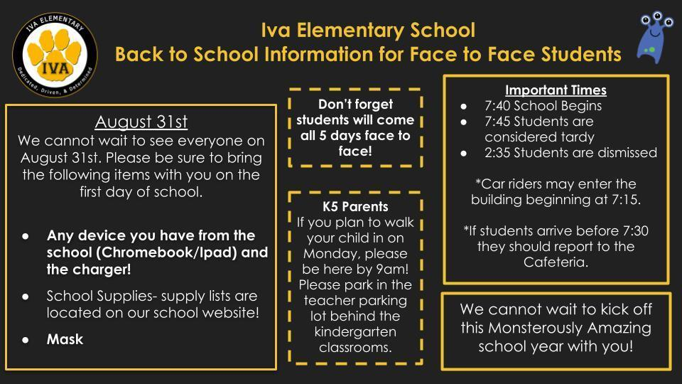 First Day of School Info