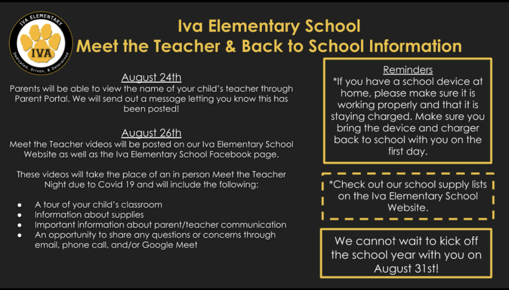 Meet the Teacher and Back to School Information