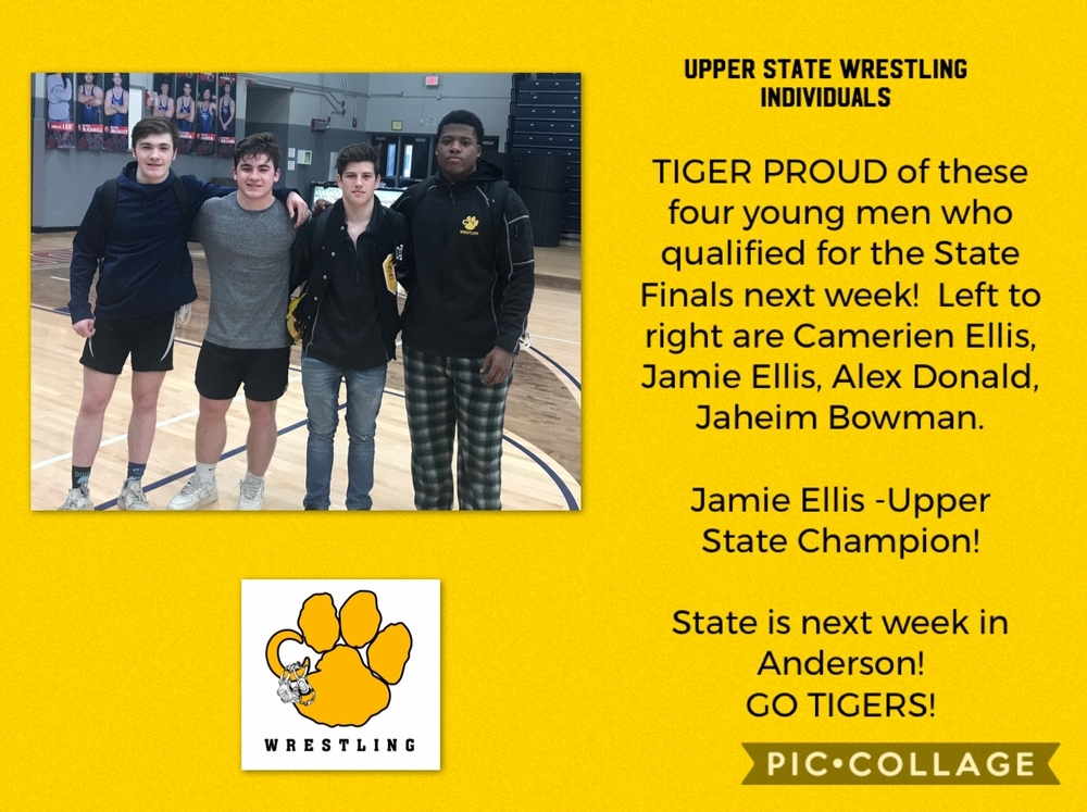 Four Tiger Wrestlers headed to STATE!