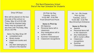 Flat Rock Elementary End of the Year Schedule