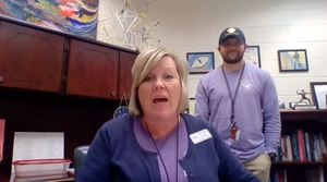 Mrs. Dodd and Mr. Powell share the morning announcements for Friday, March 27th.