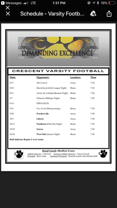 2018 Crescent Tiger Football