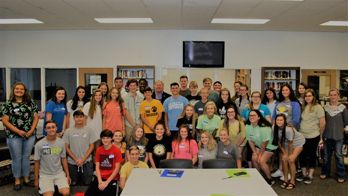 CHS Student Government poses in a photo with House of Representative Jay West