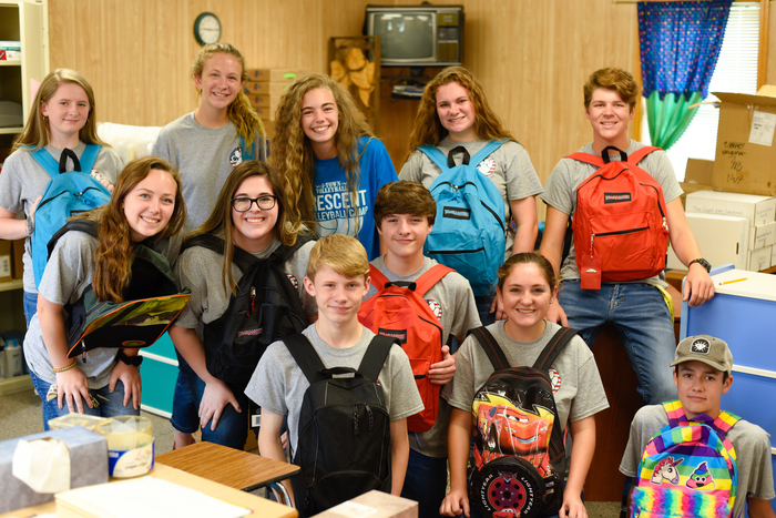 CHS SGA members assist in packing the book bags.