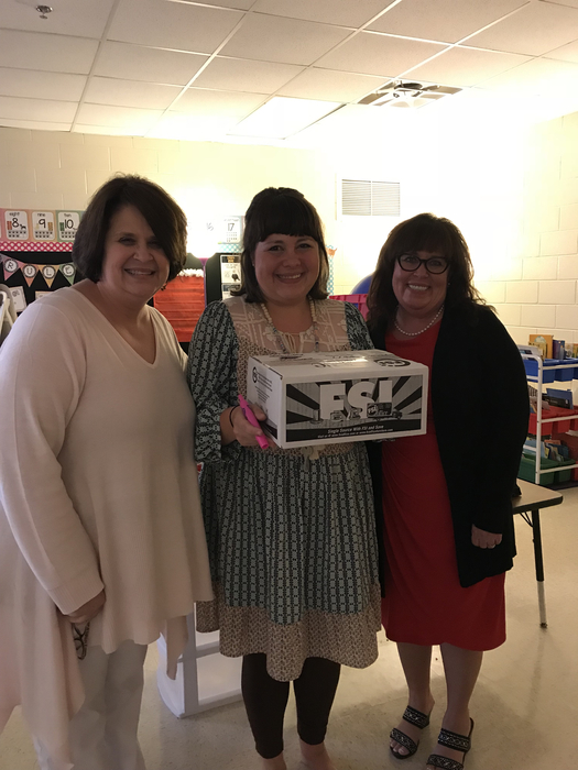 Mrs. Herron with Mrs. Madden and Mrs. Herron receiving her award