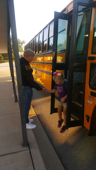 Clay Rebrick greeting our bus riders