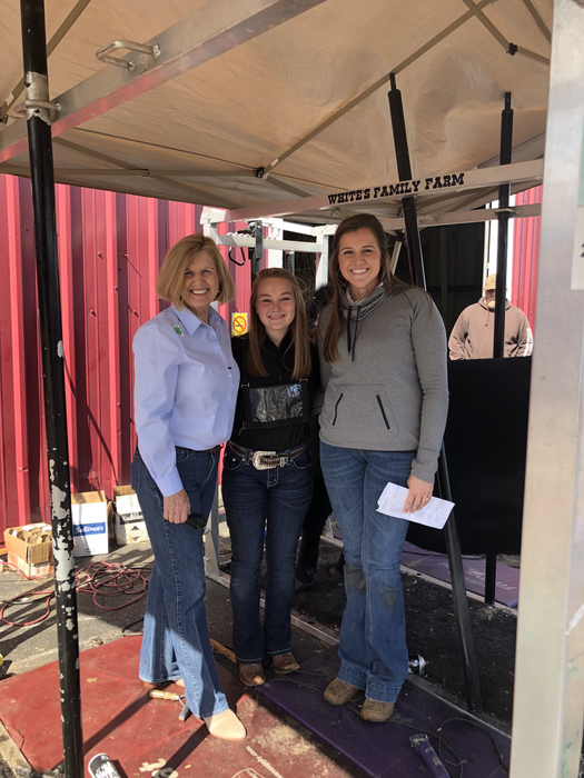 Mrs. Spearman, Hannah Wooten (FFA President), and Caroline Davis (Ag teacher)