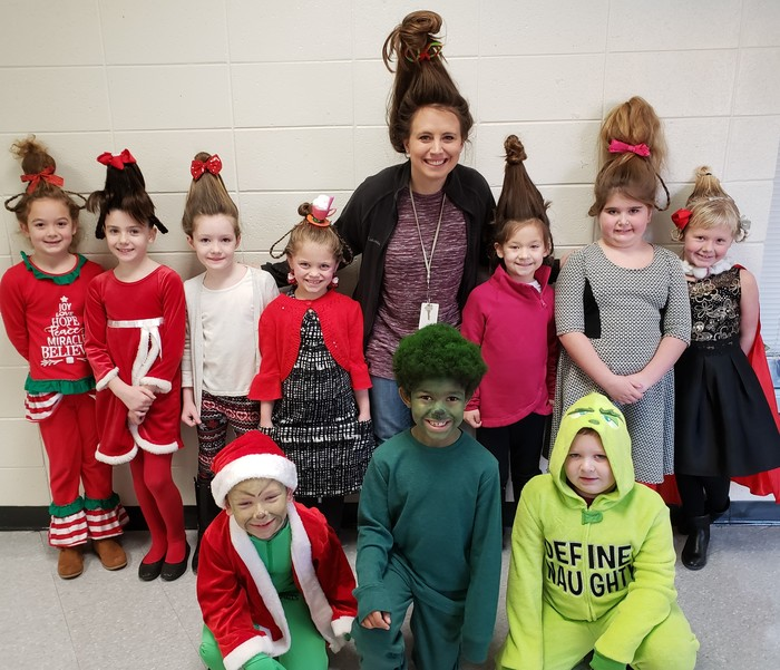 Students and teachers dressed for Grinch Day.