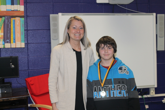 Dr. Smith with Nicholas Frost, Spelling Bee Champion