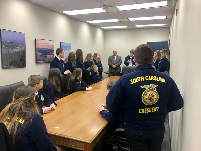 FFA members meet with Senator Michael Gambrell.