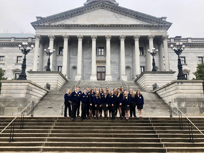 FFA members on the State House steps.