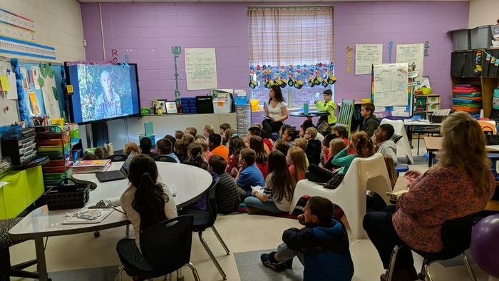 Second-graders Skype with Dr. Jane Goodall.