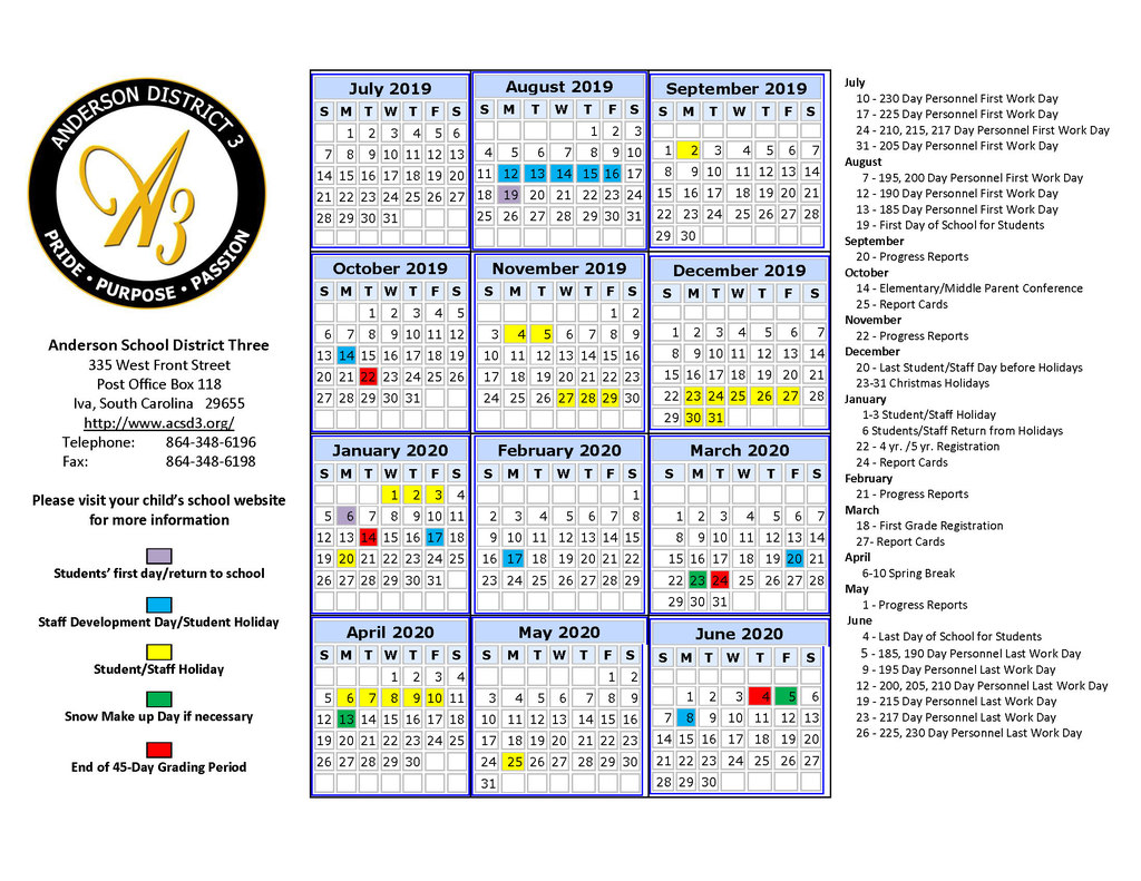 anderson school district 1 calendar